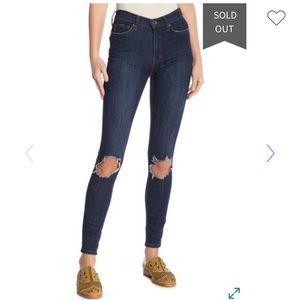 Free People High waist busted knee skinny jean